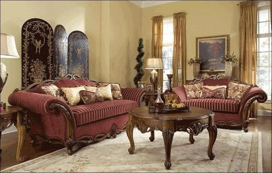 Interior Ancient Sofa Sets With Maroon Fabrics Cover Plus Classic Prepossessing Classic Living Room Designs Design Decoration