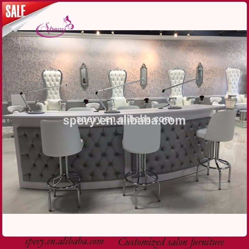 grey pu leather covers manicure table bar long bar tables | Salon ...