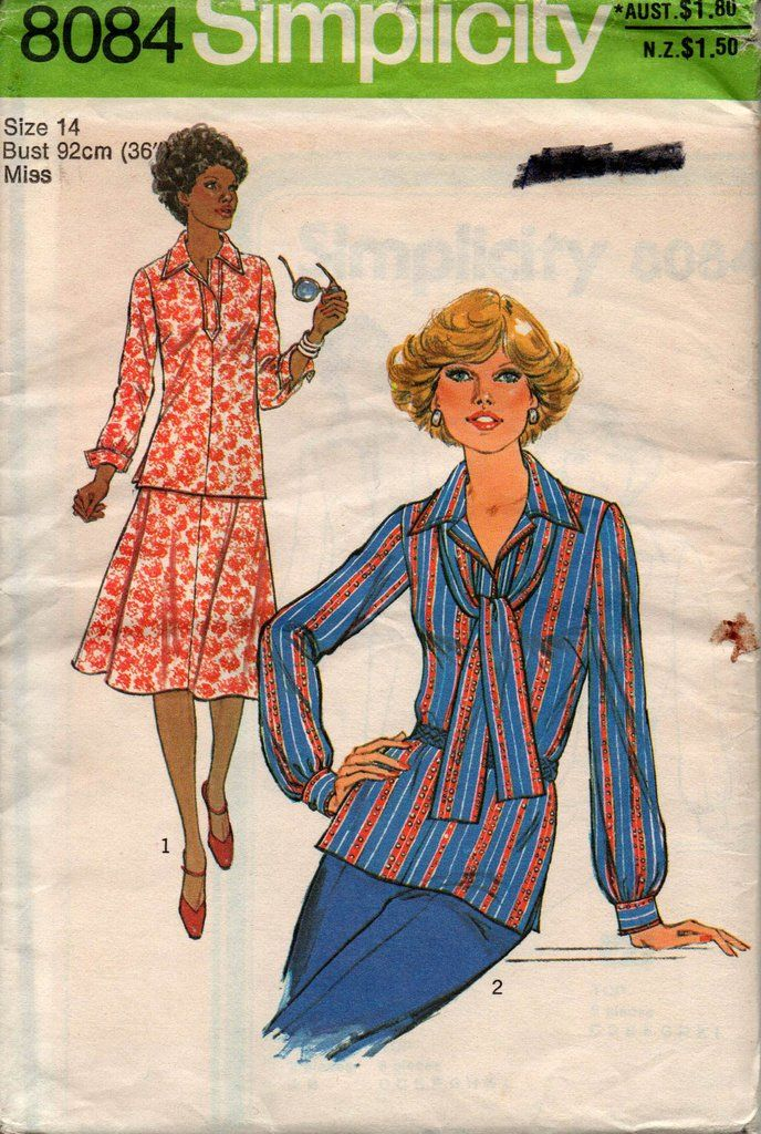 2e9dab8f0d Simplicity 8084 Womens Blouse Skirt   Scarf Pattern 70s Vintage Sewing Pattern  Size 14 Bust 36 inches UNCUT…