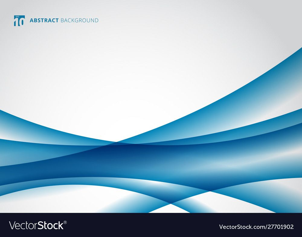 Abstract Blue Wave Curve On White Background Vector Image