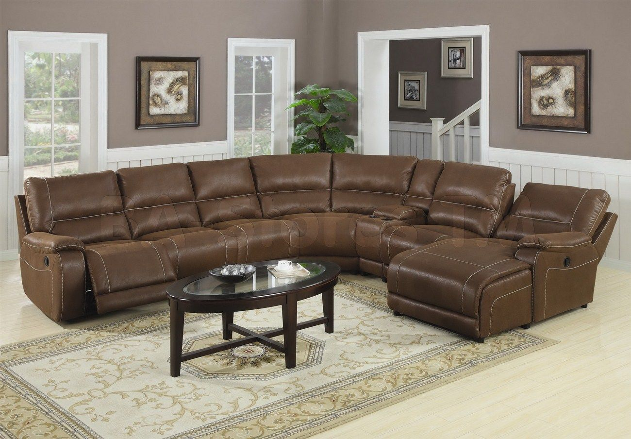 Awesome Living Room Leather Reclining Sectional Sofa With Chaise