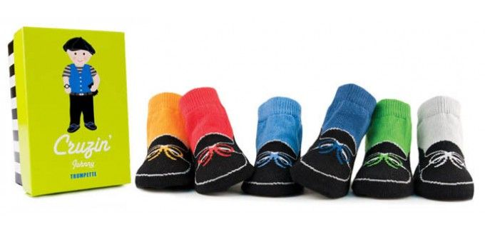 Trumpette Cruzin Johnny - 6 pairs of bright low-top driving shoe socks in a gift box
