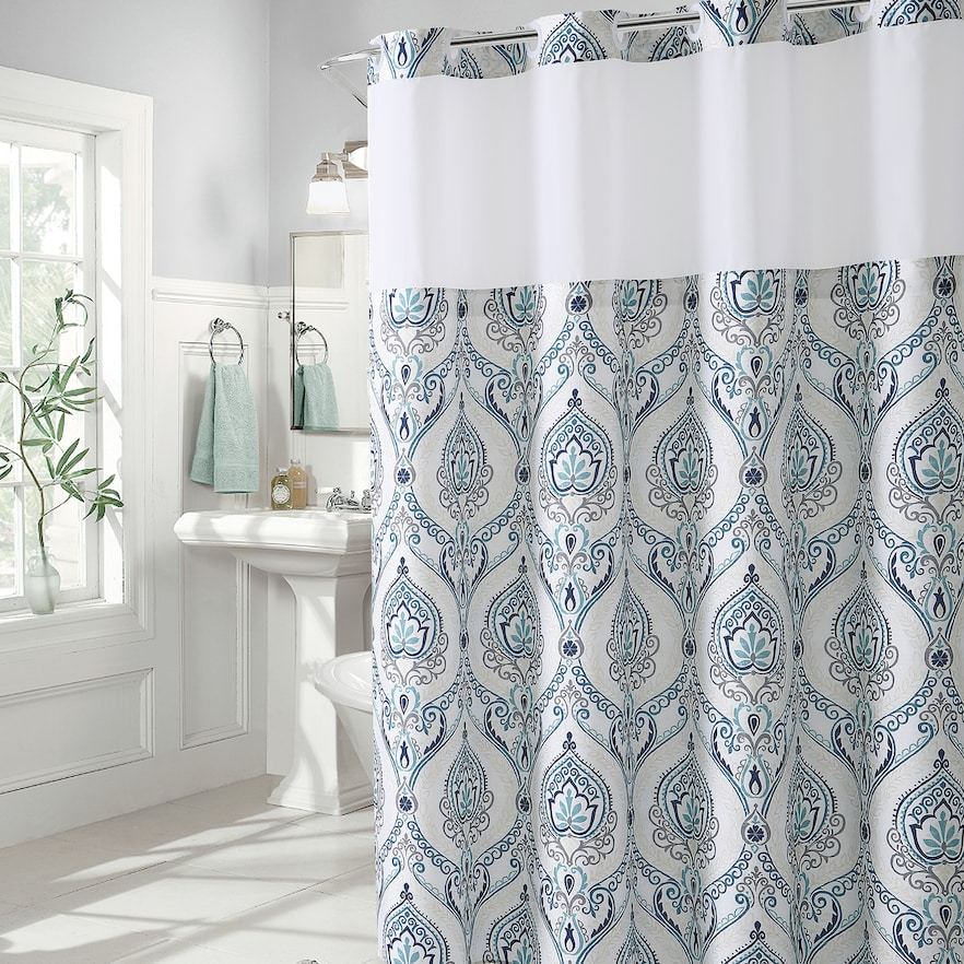 Hookless French Damask Print Coral Shower Curtain Peva Liner Blue Hookless Shower Curtain Coral Shower Curtains Shower Curtain