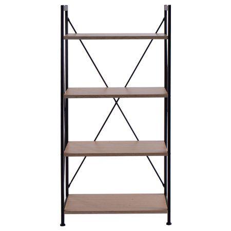 Cosway 4 Tire Wooden Bookshelf Bookcase Steel Storage Display Shelf Furniture Home