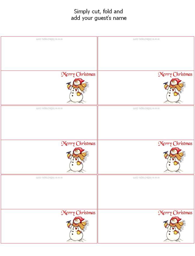Free Christmas Printables Place Card Template Templates