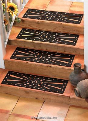 Sun Outdoor Rubber Stair Treads From Collections Etc Stair | Decorative Non Slip Stair Treads | Stair Railing | Washable | Rugs | Dirt Proof | Rubber Backing