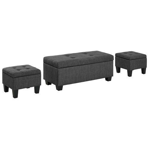 Ethan 3 Piece Storage Ottoman Set Charcoal Online Only