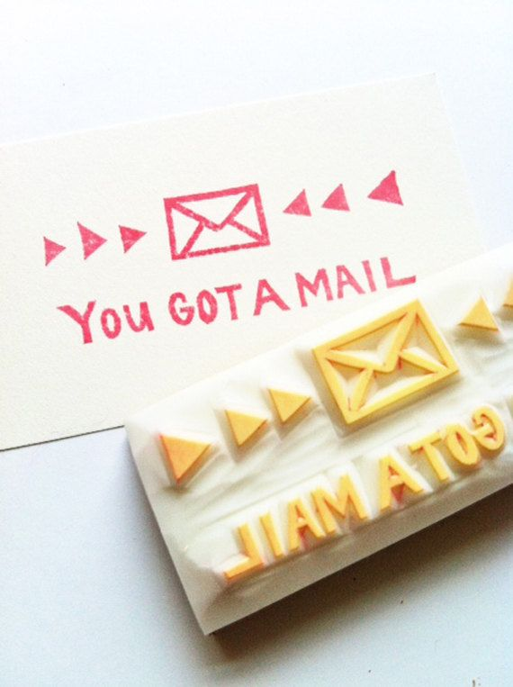 you got a mail hand carved rubber stamp handmad door talktothesun, $15,00