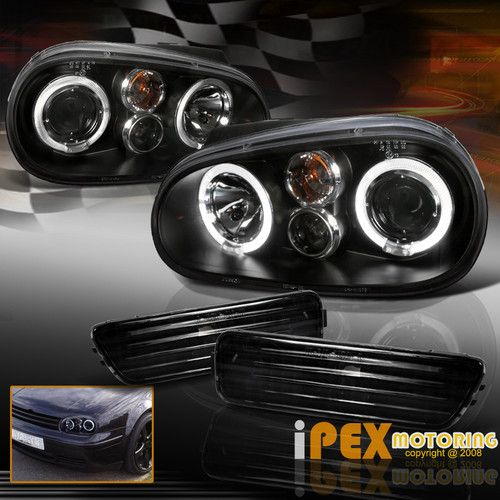 99 05 Vw Golf Mk4 Halo Projector Headlights Black W Bumper Signal Marker Lights Carros