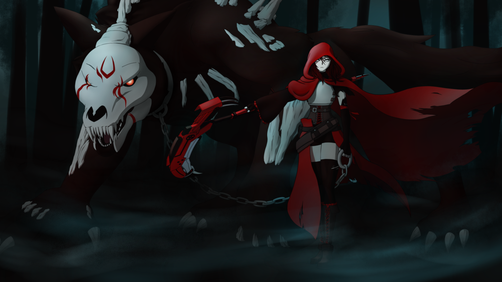Here is my version of adult Ruby Rose with her pet grimm