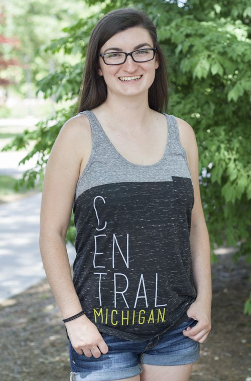Stacked Central Michigan Two Tone Gray Tank