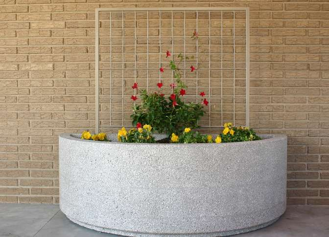 Half Round Planters Doty Concrete Bench Benches Rounding Planter Pots
