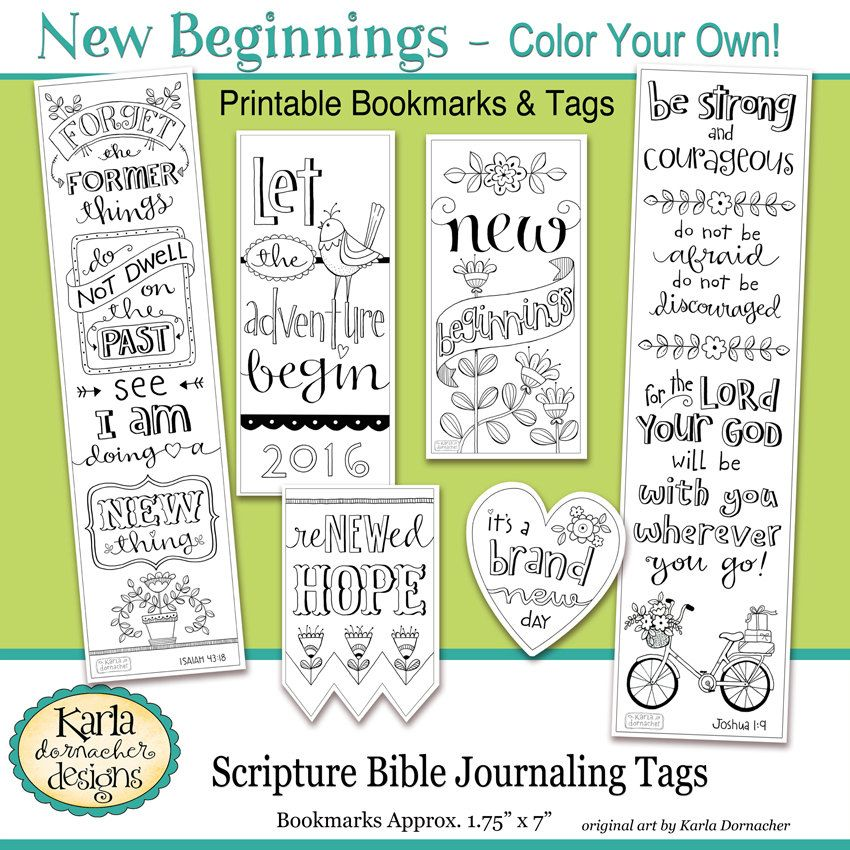 2017 NEW BEGINNINGS New Year Color Your Own Bookmarks Bible Journaling Tags Tracers INSTANT Download Scripture Digital Printable Christian