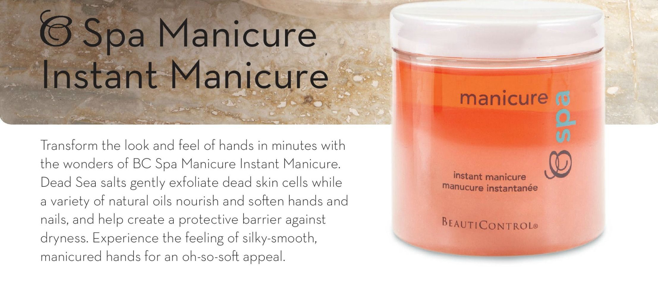 Instant #Manicure, Gently exfoliate with Dead Sea salt as natural oils moisturize and help protect your hands. #skin