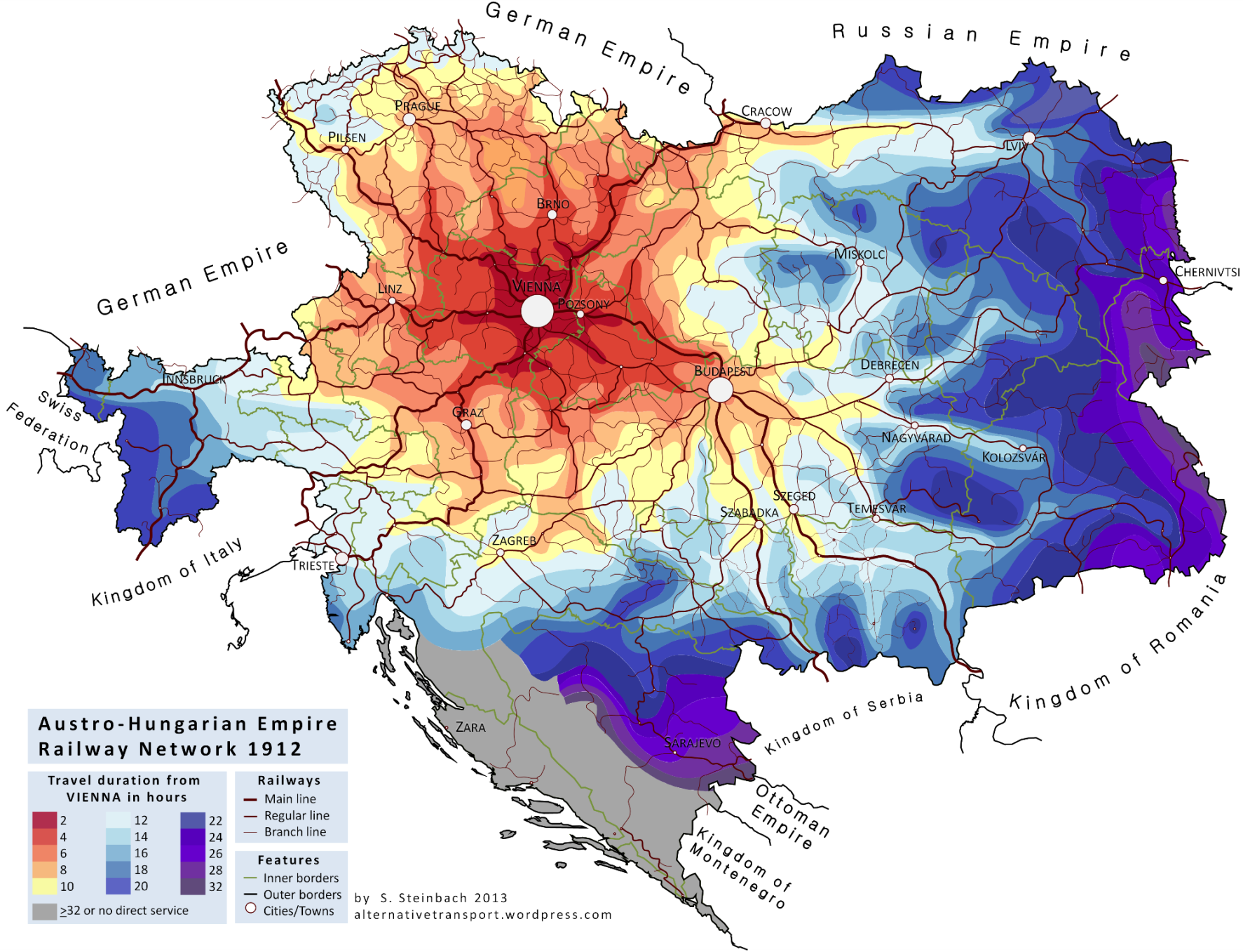 Austro Hungarian Railway Network Map Infographic Map Historical Maps