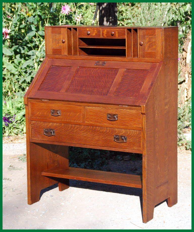 Rare And Original L J G Stickley Drop Front Desk Circa 1906 1912 Craftsman Furniture Craftsman Style Furniture Mission Style Furniture