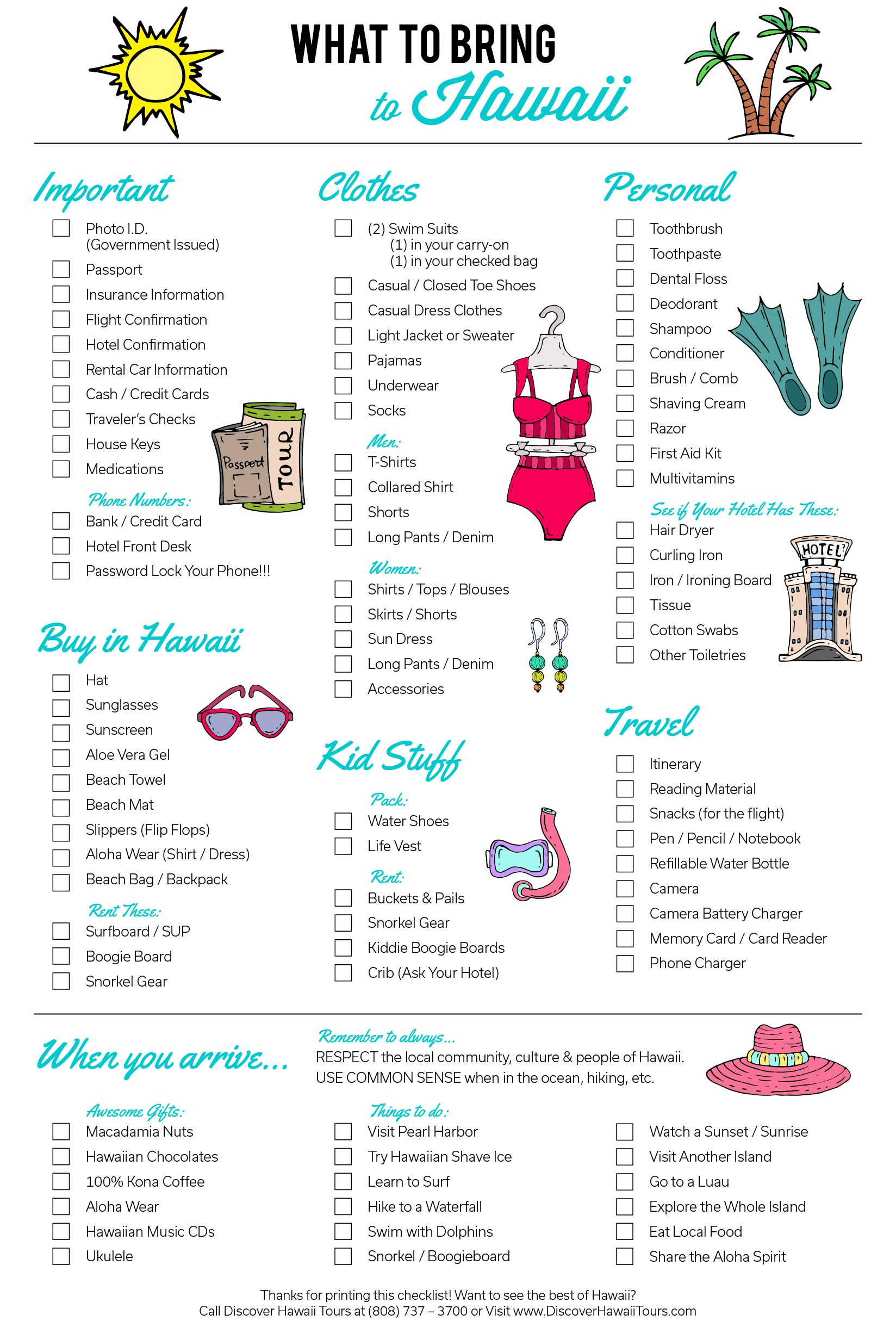 graphic about Printable Packing List for Hawaii identify Pin upon Maui 2019