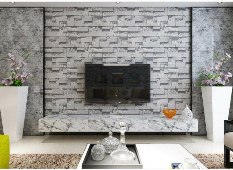 Salon Avec Papier Peint Imitation Pierre Et Effet Brique En Noir Et Blanc Stone Wallpaper Brick And Stone Wallpaper Roll