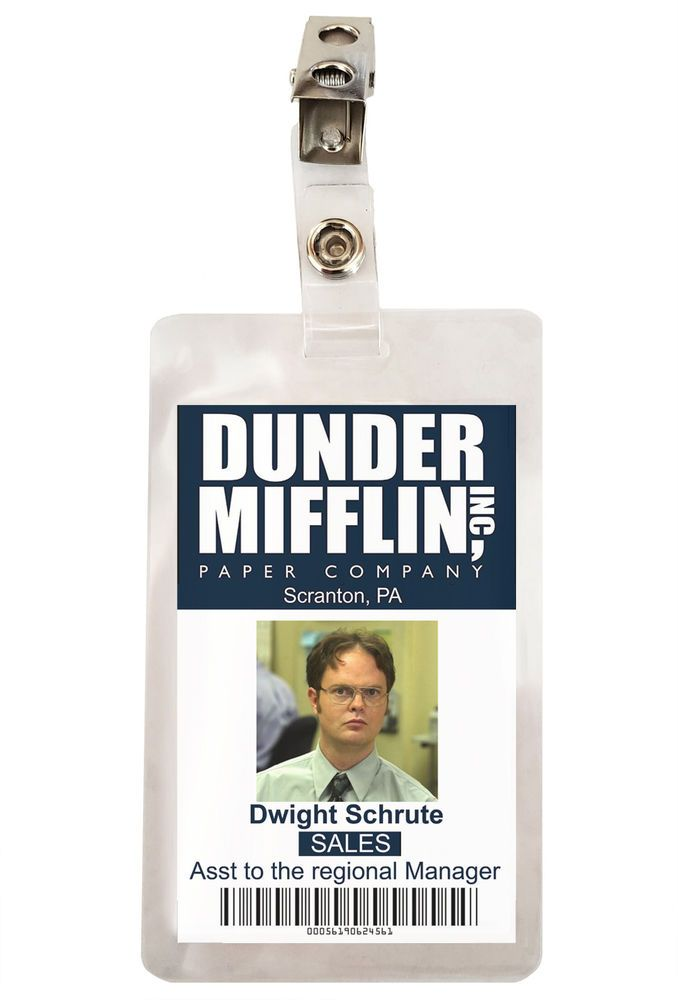 It is a picture of Clever Dwight Schrute Id Badge Printable