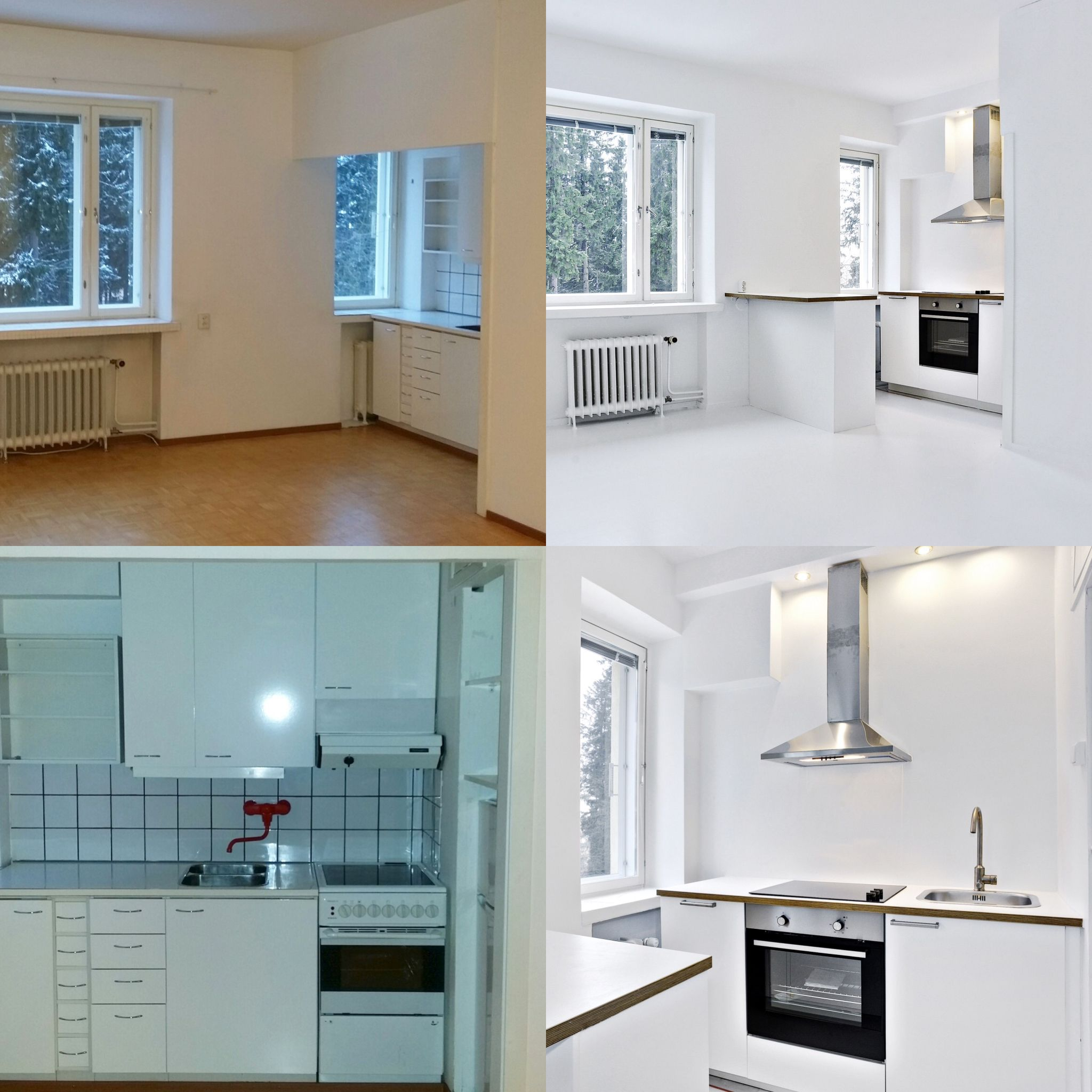 Before and after of a tiny kitchen in Helsinki. Design by paasi ...