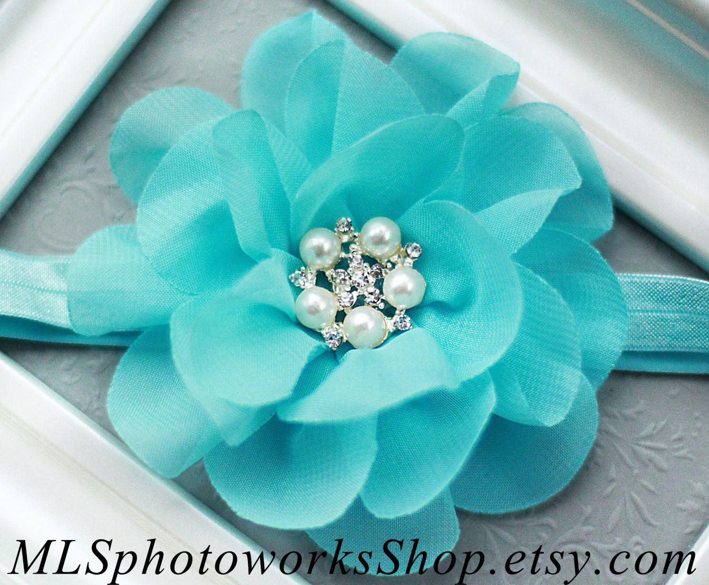 Tiffany blue flower baby headband girls hair bow in blue with tiffany blue flower baby headband girls by mlsphotoworksshop 650 izmirmasajfo