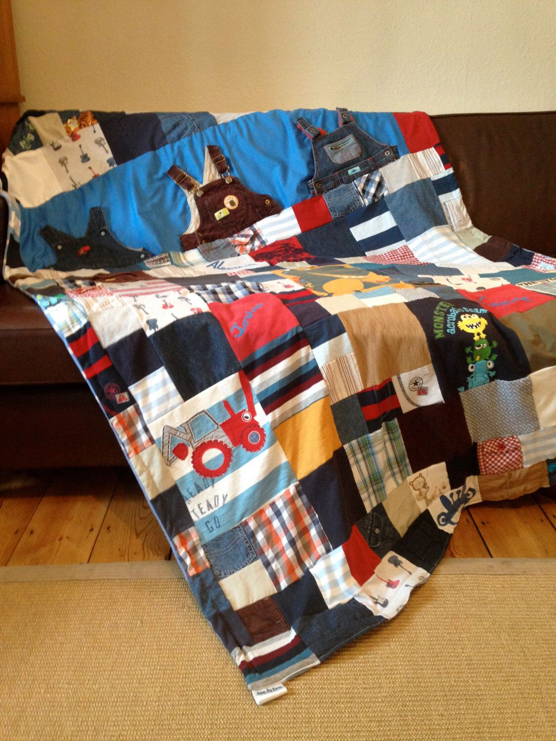 Keepsake memory quilt made from your old baby clothes by ... : quilts made from baby clothes uk - Adamdwight.com