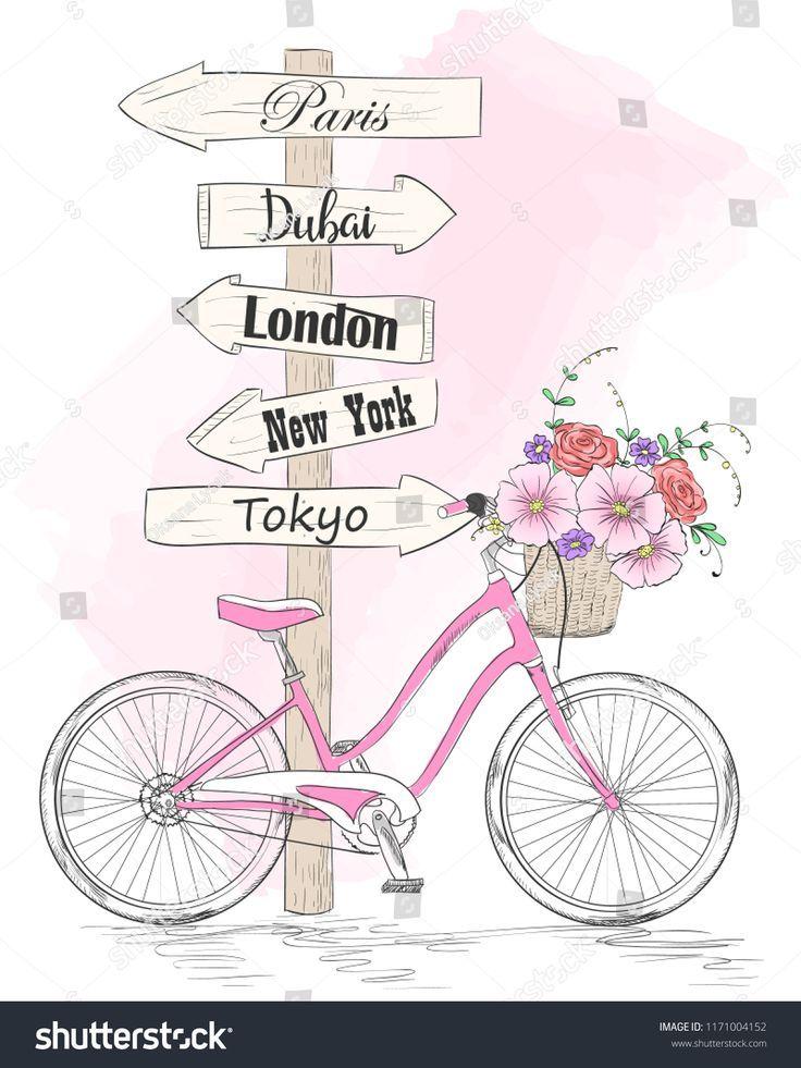 Fahrrad mit einem Korb voller Blumen und Wegweiser in den