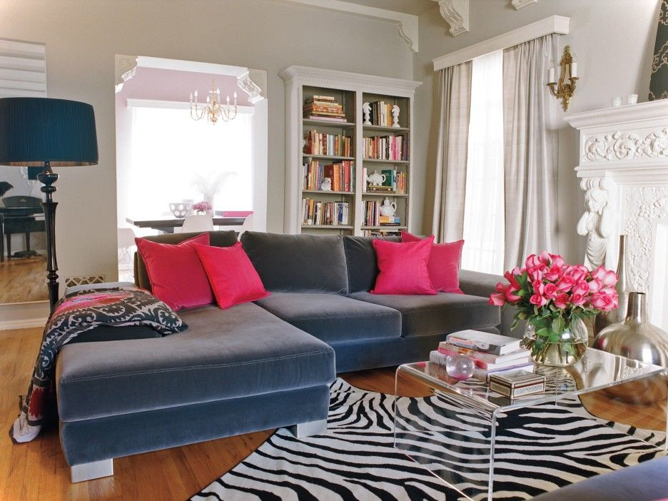 L Shaped Gray Velvet Chaise Sofa With Pink Color Cushions Mixed Zebra Striped Pattern Rug Interio Living Room Decor Gray Living Room Grey Romantic Living Room