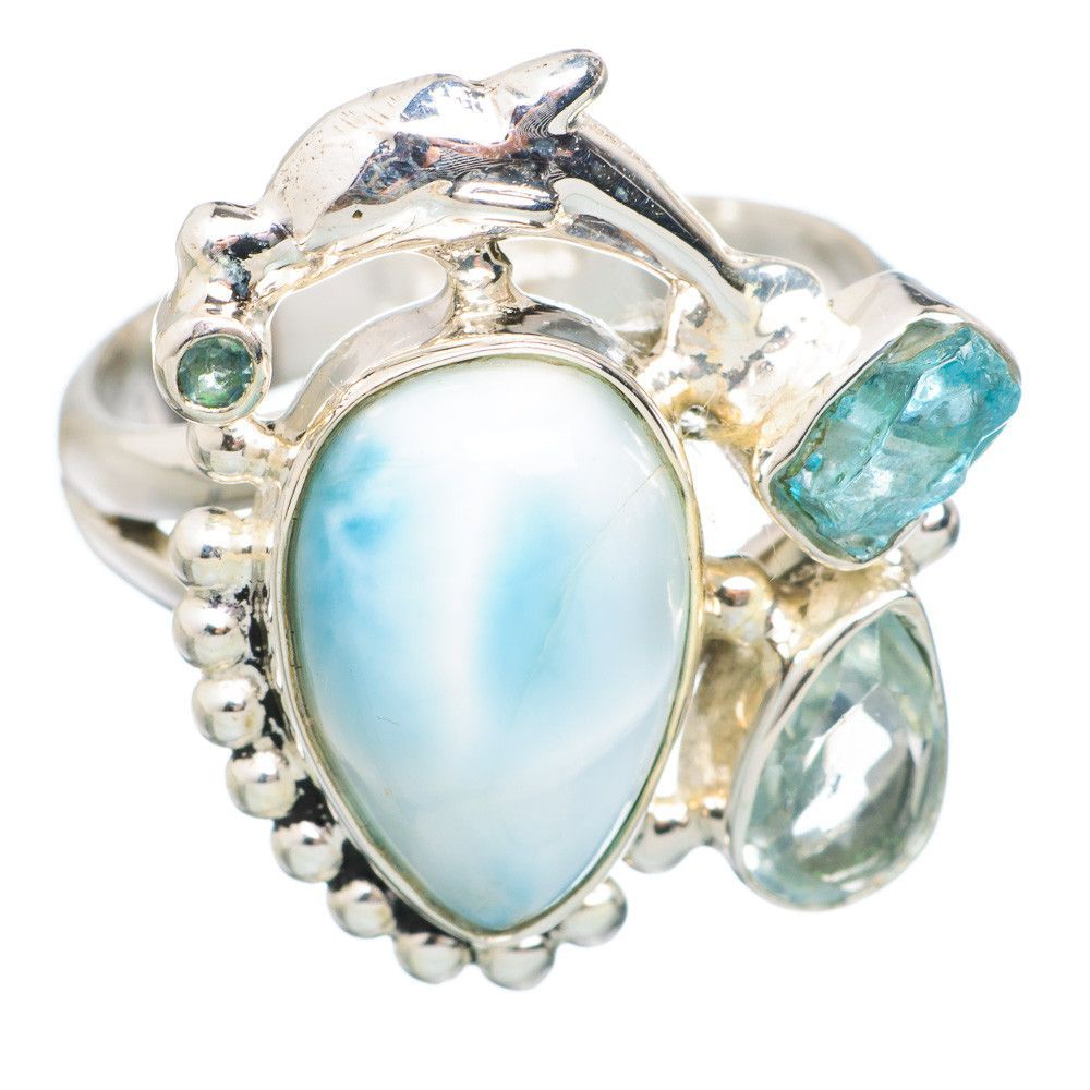 Rare Larimar Dolphin, Apatite, Blue Topaz 925 Sterling Silver Ring Size 8.5 RING766024