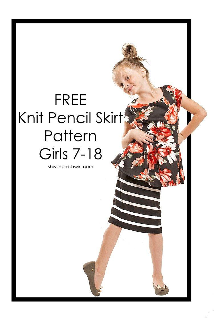 Knit Pencil Skirt    FREE Pattern    Shwin&Shwin   Free Sewing ...