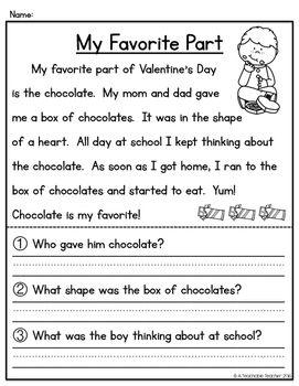 Valentine S Day Reading Comprehension Reading Comprehension