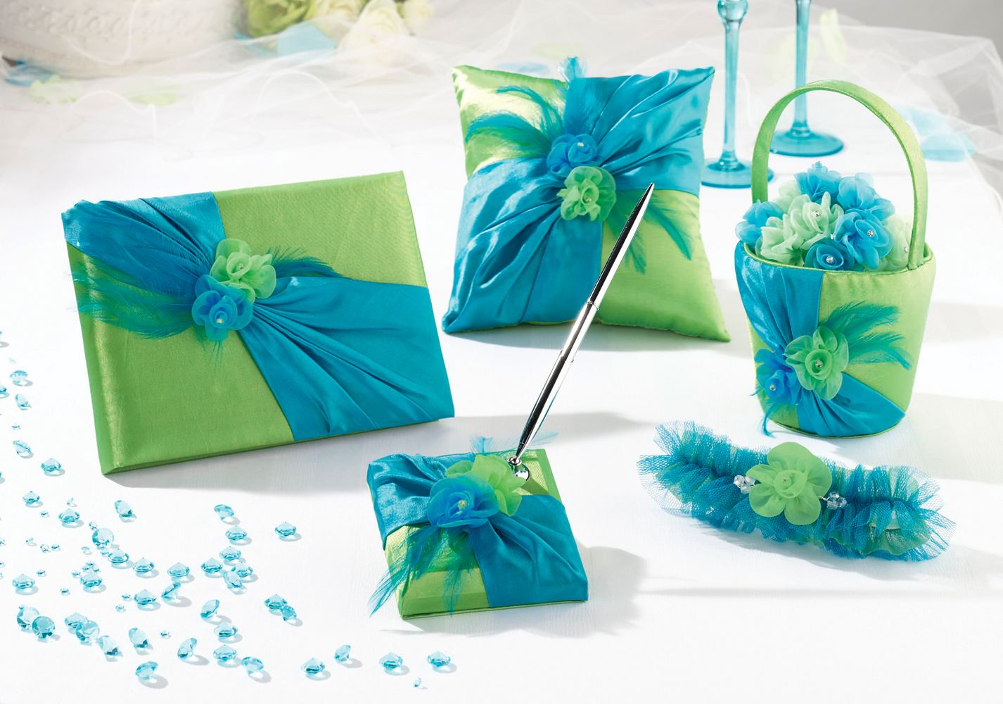 Blue & Green Collection www.carlsbadweddingsupplies.com