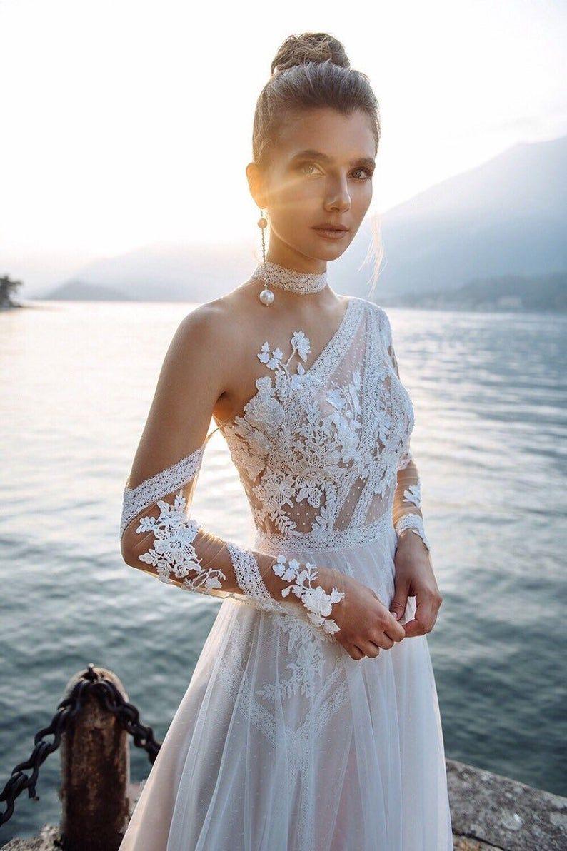 Ungewöhnliche Hochzeitskleid individuelle A-Linie Brautkleid | Etsy