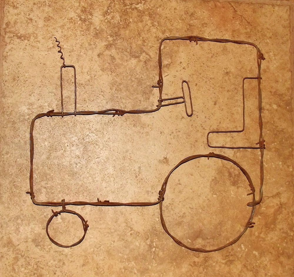 Barb Wire Tractor rustic farm country wall art home decor rustic ...