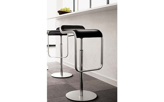 Lem Piston Stool Leather Seat Black Design Within Reach