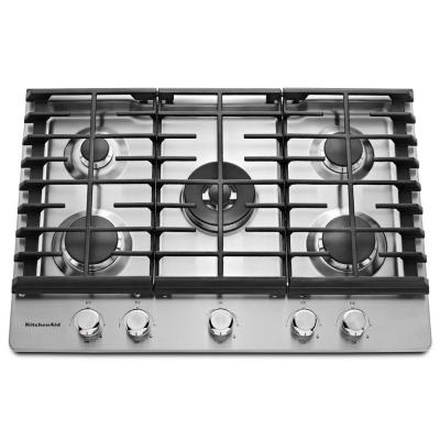 Kitchenaid 30 In Gas Cooktop In Stainless Steel With 5 Burners Including Professional Dual Ring Burner Kcgs550 Stainless Steel Cooktop Gas Cooktop Kitchen Aid