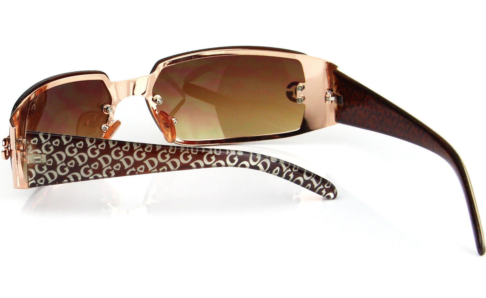 6d931ebf74 DG Womens Fashion Designer Sunglasses Shades Rectangular Wrap Around Gold  Brown $5.99 End Date: 2019