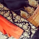 Black and peach orange half and half georgette with designer blouse - Shama Boutique