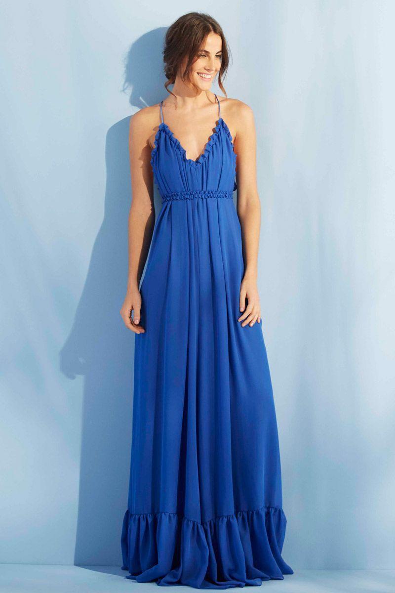 Vestido Largo Azul Formentera   Vestidos largos azules, Tirantes y ...