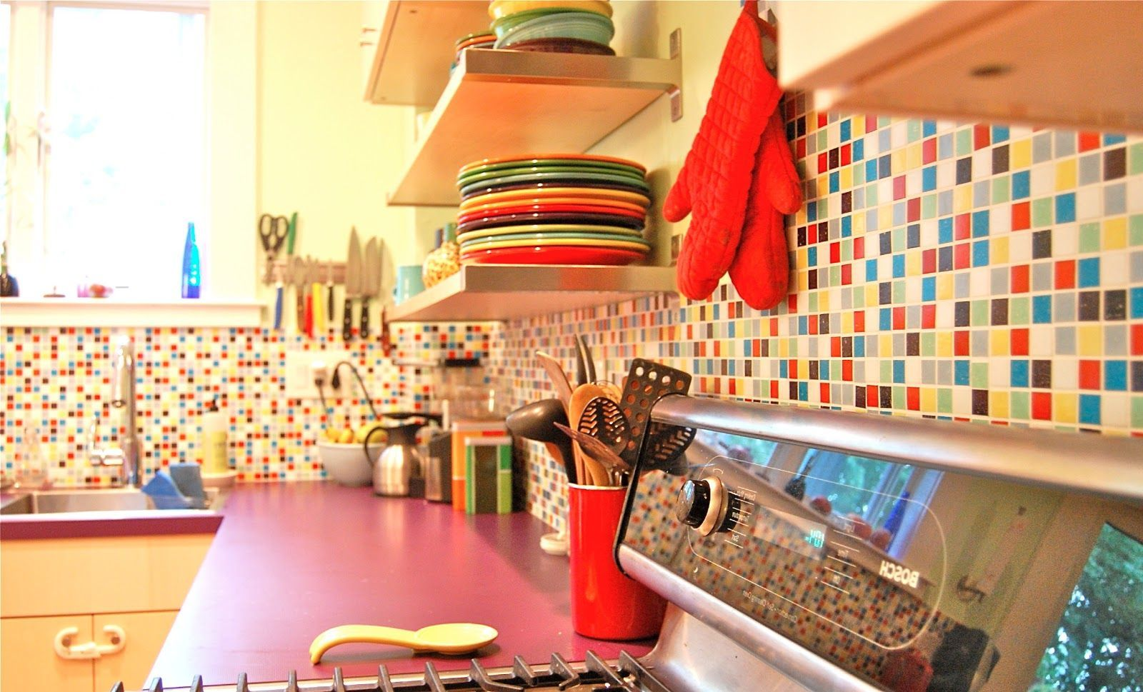 Colorful Kitchen Ideas kitchen , colorful kitchen ideas; playing with backsplashes colors