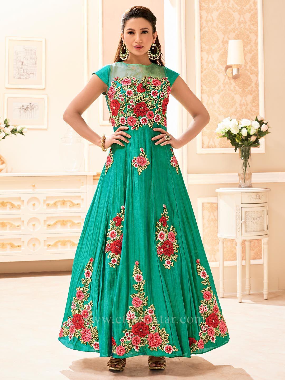 Silk Fabric Anarkali Dress Material #partywear #designerdress ...