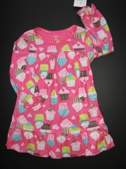 d2f171da5 NEW NWT CARTER S Pink Cupcake Nightgown Girls XS 2T 3T  14.95 and ...