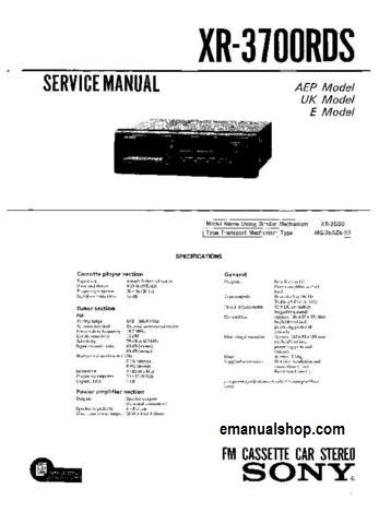 SONY FM Cassette Car Stereo XR 3700RDS Service Manual