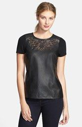 Sunday in Brooklyn Laser Cut Faux Leather & Ponte Tee $78.....wish this had long sleeves...