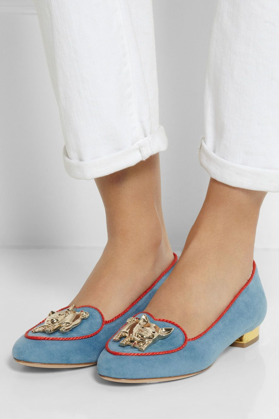 Charlotte Olympia | Year of the Pig suede slippers | NET-A-PORTER.COM