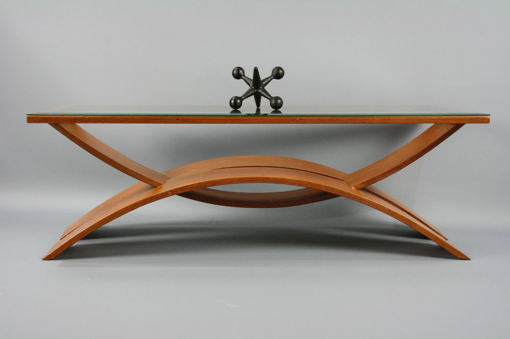 Mid Century Bentwood Coffee Table Magazine Rack Teak Retro Vintage