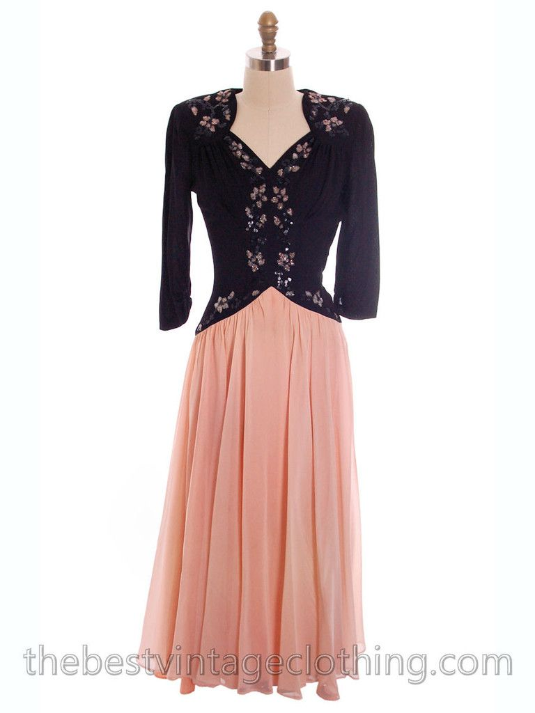 Lovely vintage s evening gown of rayon with a pink and black