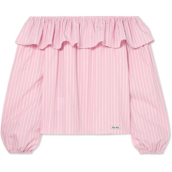 056b9acc499aaa Miu Miu Off-the-shoulder striped cotton top (38