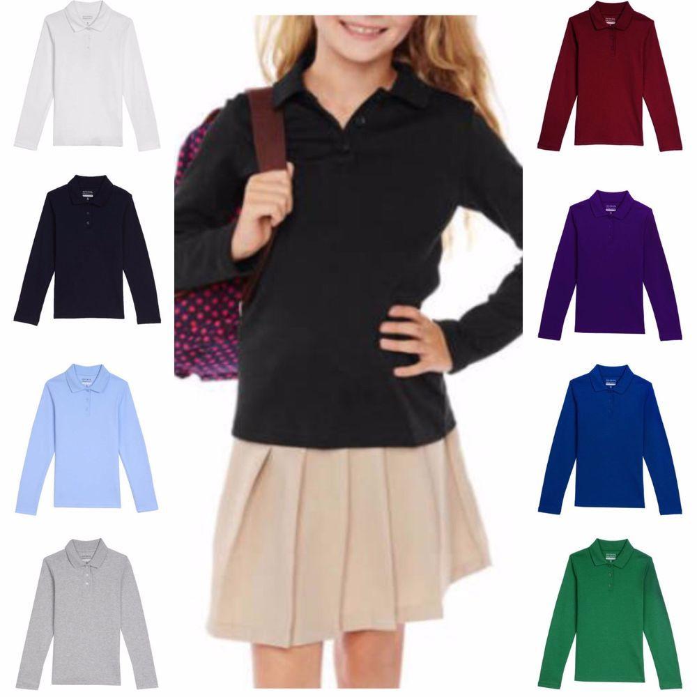 a5a34d7b8b George Girls' School Uniform Long Sleeve Polo Shirt Asst Sizes & Colors # George #LongSleevePolo