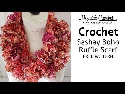Sashay Boho Ruffled Scarf - Right Handed - YouTube | Crochet Scarfs ...